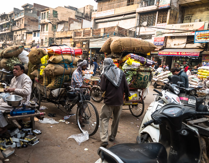 A busy street in the spice market of Delhi, India.