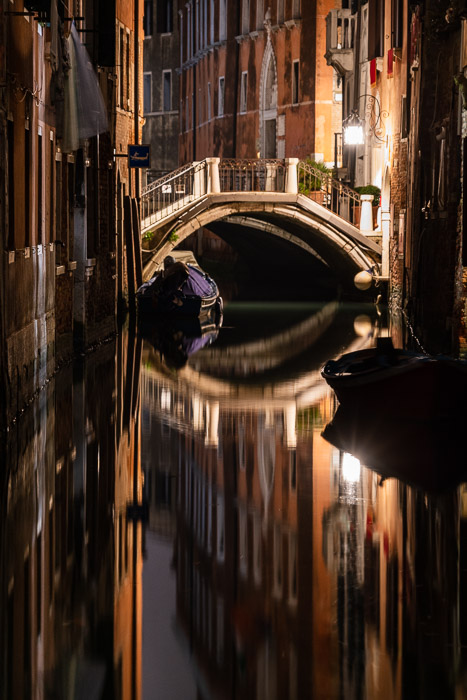 Final crop of Venetian canal at night.