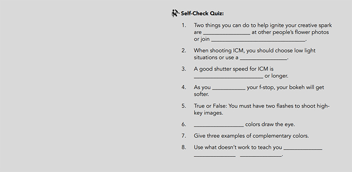 Self-check quiz from Photzy's Fabulous Flowers ebook