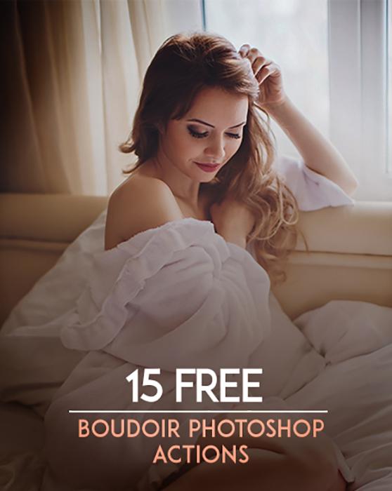 A screenshot showing 15 Free Boudoir Photoshop Actions