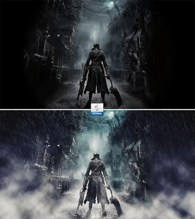 Diptych fantasy portrait before and after using Photoshop Action - Cinematic Rain Effects