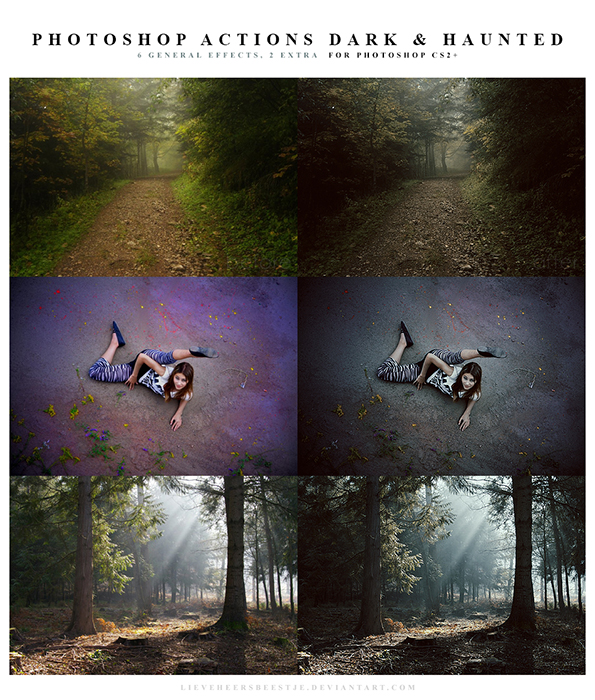 A screenshot of Free Dark and Haunted Photoshop Actions