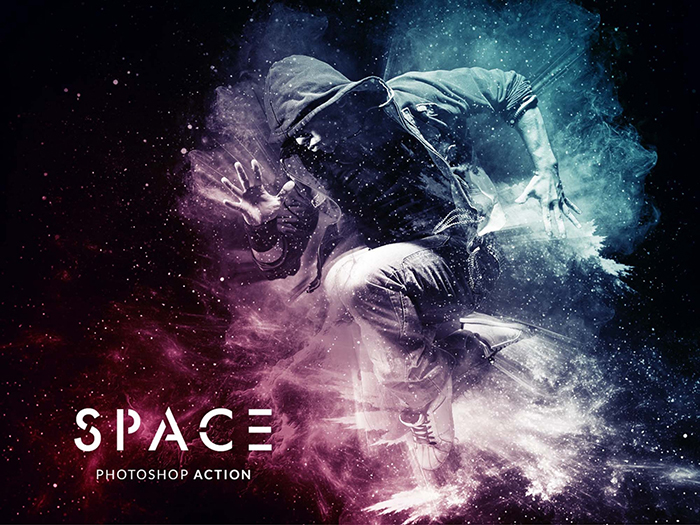 Screenshot of Free Space Photoshop Effect Action