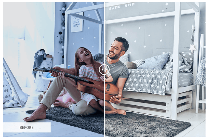 A portrait of a father and daughter splitscreen to show before and after using Free Instagram Photoshop Actions