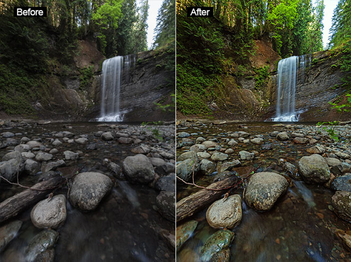 Waterfall diptych photo showing before and after editing with Free Photoshop Actions – Forest Waterfalls LITE