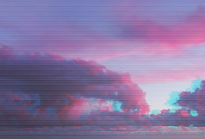 Clouds with glitch watercolor ultraviolet effect.
