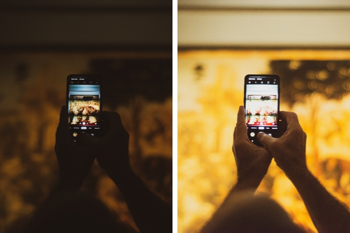 diptych of a person using a smartphone at different iso invariance