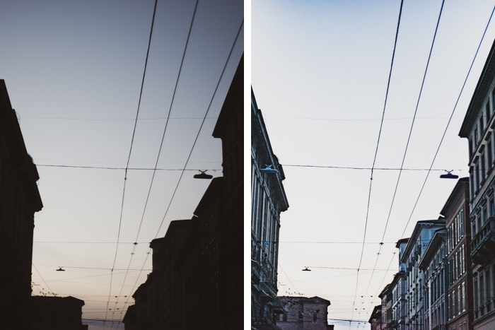 Diptych street photo showing effects of ISO invariance