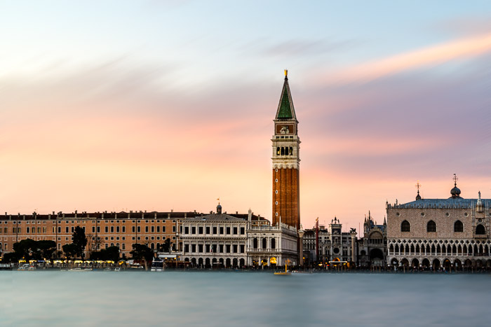 Venice, Italy at sunset. Long exposure look created blending layers in Photoshop.