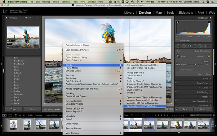 Lightroom screenshot showing the process of opening multiple images as layers in Photoshop.