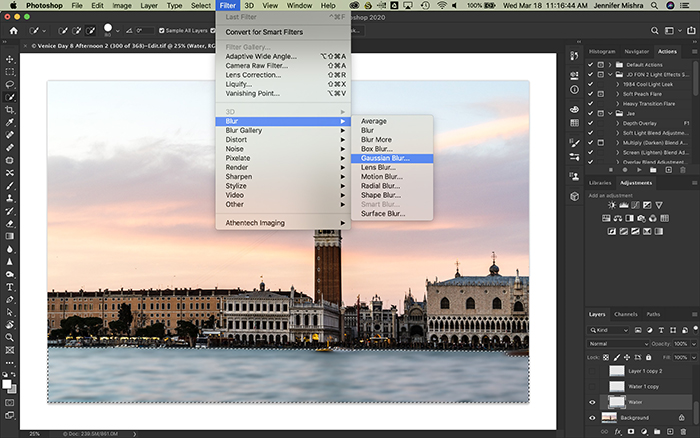 Photoshop screenshot showing water selected on a new layer and applying 10.0 pixels of gaussian blur.
