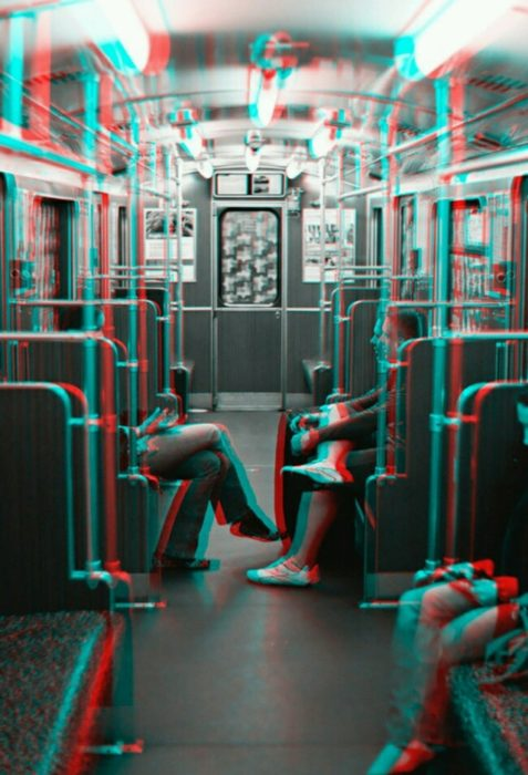 Cool glitch photo of people on a train