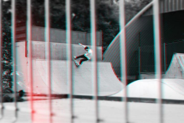 glitchy photo of a skatepark