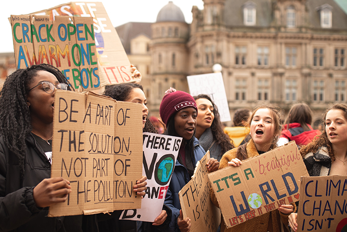 A group of female protesters