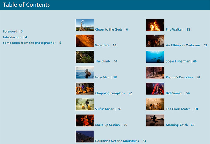 Screenshot from Photzy's 'Powerful Imagery' eBook table of contents
