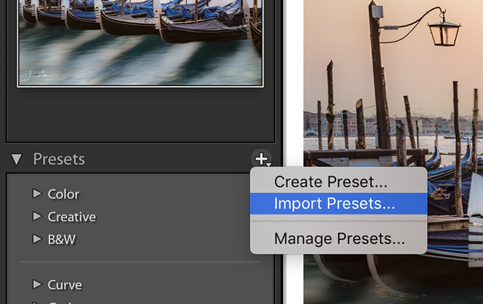 Screenshot of Lightroom Classic showing the location of Import Preset.
