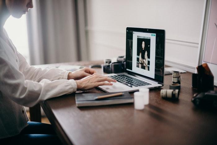 A man working at an office desk