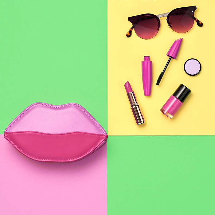 Creative product photography of cosmetics.