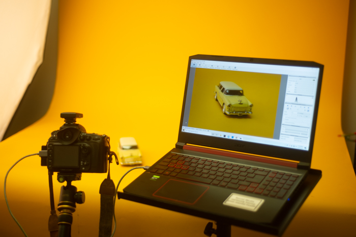 A DSLR tethered to a laptop
