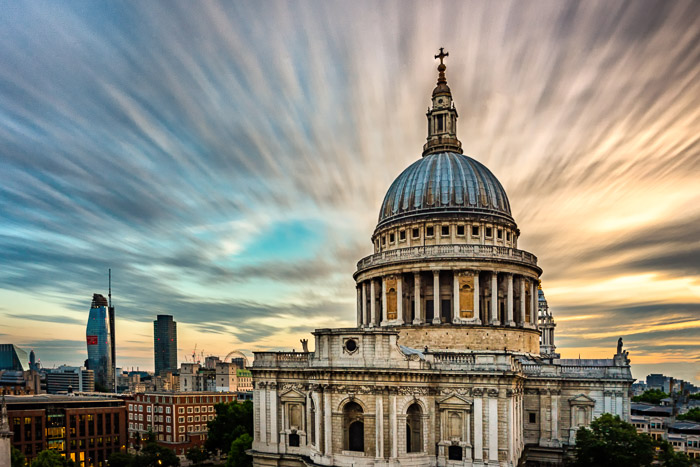 Long exposure of St. Paul's Cathedral in London.