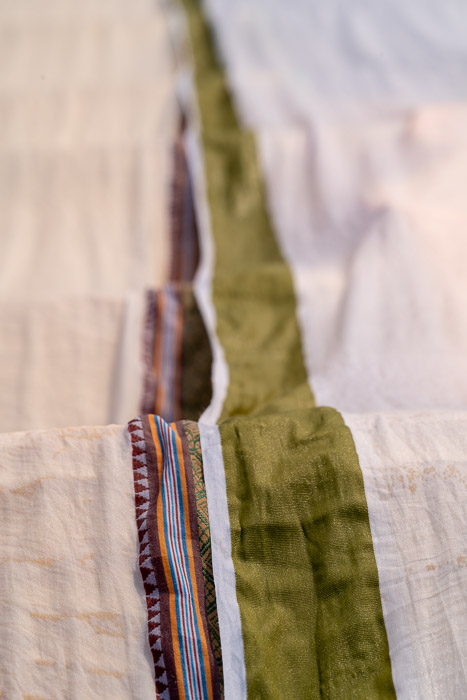 Close-up photo of a fabric with colorful stripes