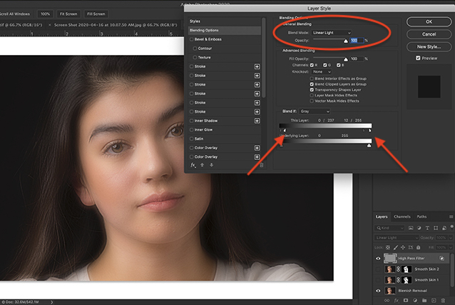 Screenshot of Photoshop workspace showing Blending Options dialogue box and results.