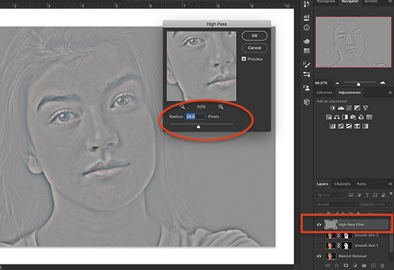 Screenshot of Photoshop workspace showing High Pass filter dialogue box and results.