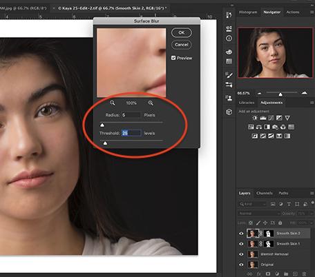 Screenshot of Photoshop workspace showing Surface Blur dialogue box.