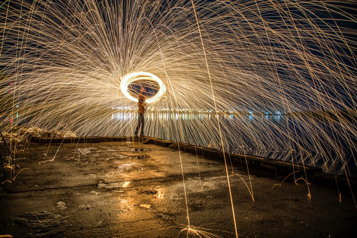 steel wool photography with rain effect