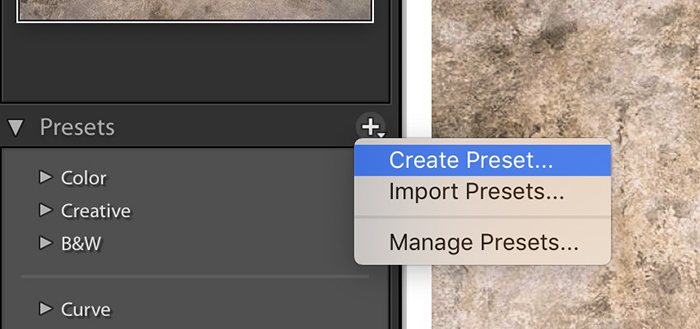 Lightroom screenshot showing how to create a preset.