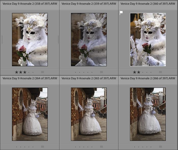 Screenshot of culling images in lightroom