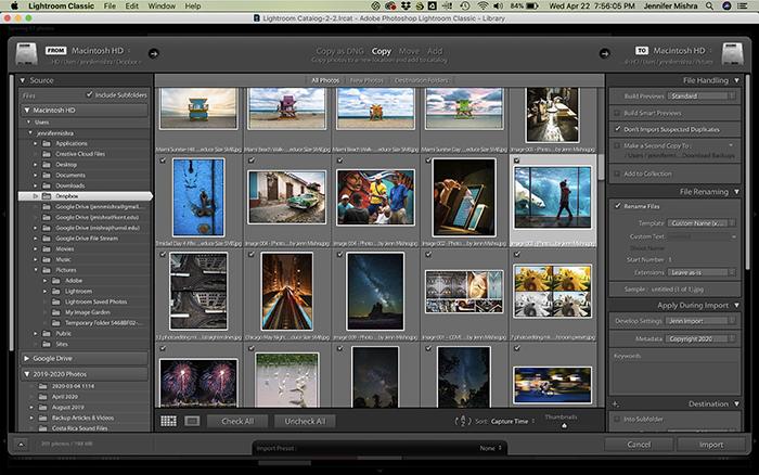 A screenshot of Lightroom import screen