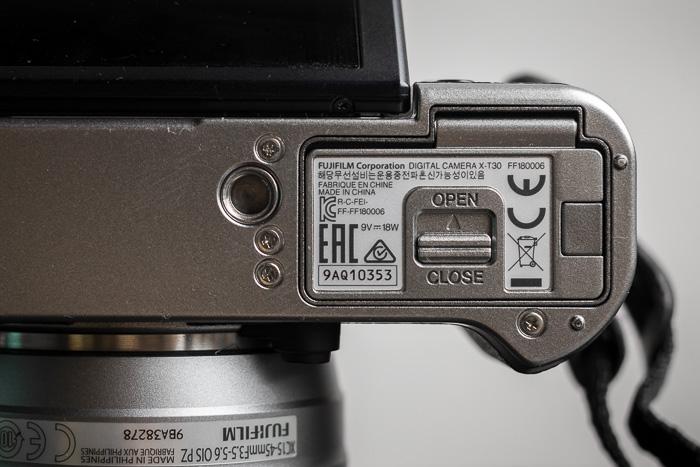 Battery compartment of Fujifilm X-T30 camera
