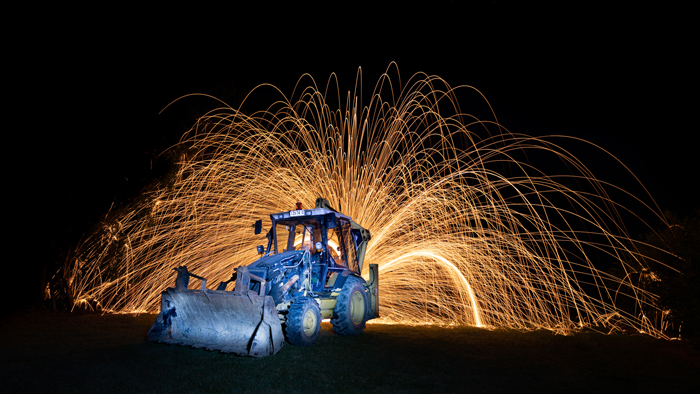Photo of a tractor with steel wool photography