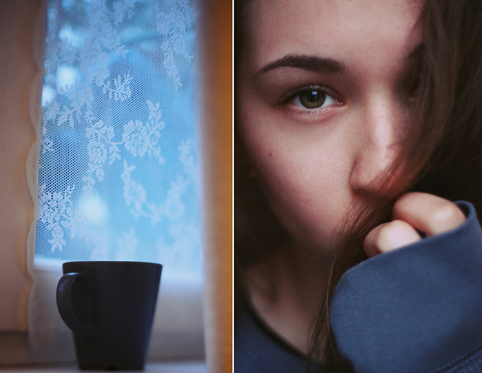 Diptych indoor photography ideas of a coffee cup and a girls face
