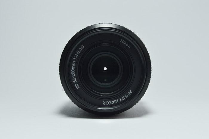 Closeup of a Nikkor lens