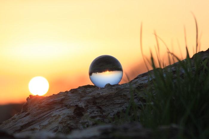 A sunset shot through a crystal ball