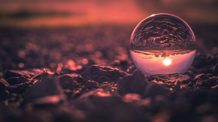 A beach sunset shot through a crystal ball