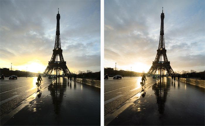 Eiffel tower diptych side by side editing comparison between Darktable (left) with Lightroom (right).