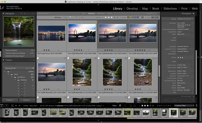 Screenshot of Lightroom's Library module interface.