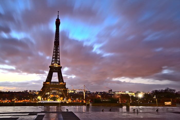 The Eiffel tower at evening time
