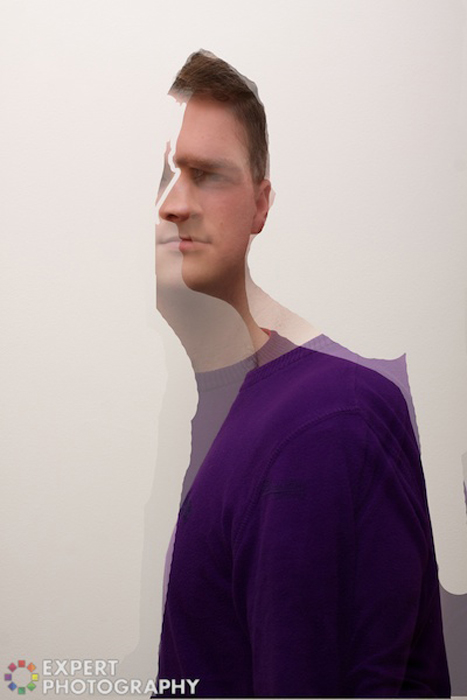 Two portraits of Josh Dunlop from ExpertPhotography layered over each other