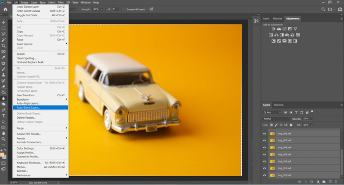 A screenshot of blending layers in Photoshop