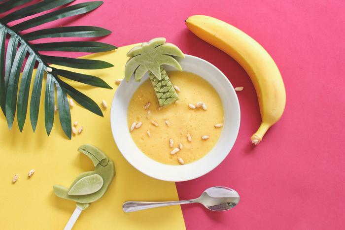 Propaganda temática de alimentos tropicais plana leigos