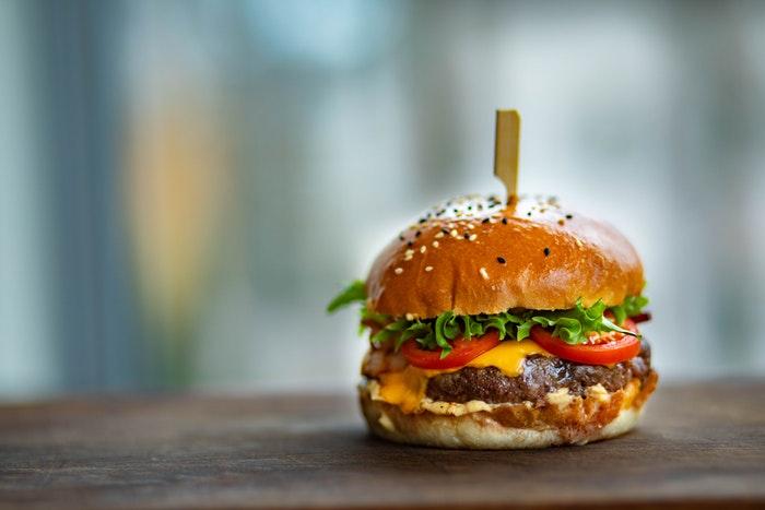 Food advertising image of a hamburger