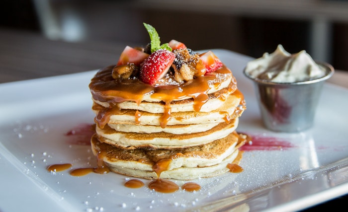 A stack of pancakes for food advertising