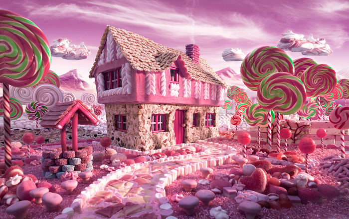 A house made of candy with lollipop trees
