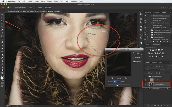 Screenshot of editing a portrait with frequency separation in Photoshop
