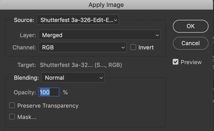 Screenshot of default Apply Image dialog box in Photoshop
