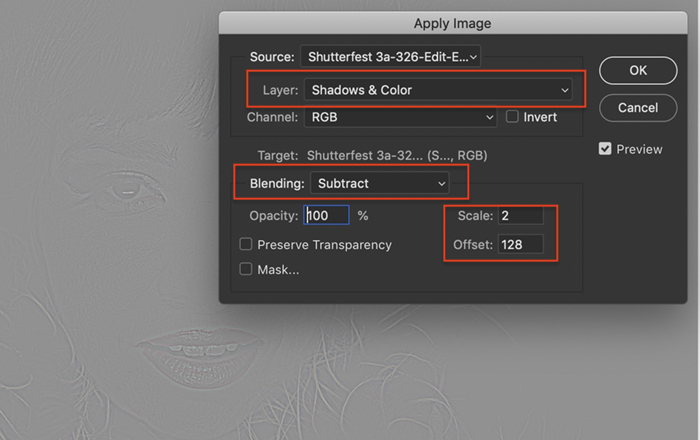 Screenshot of Apply Image dialog box showing settings for Layer, Blending, Scale, and Offset, in Photoshop